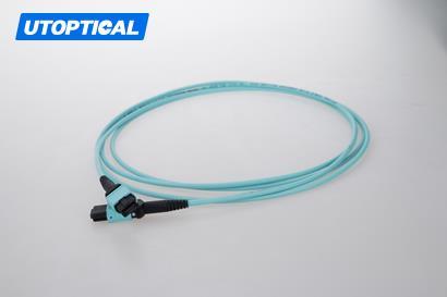 2m (7ft) MTP Female to Female 12 Fibers OM3 50/125 Multimode Trunk Cable, Type A, Elite, Plenum (OFNP), Aqua