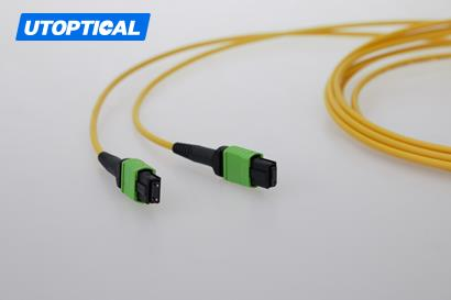 3m (10ft) MTP Female to Female 12 Fibers OS2 9/125 Single Mode Trunk Cable, Type A, Elite, Plenum (OFNP), Yellow