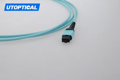 10m (33ft) MPO Female to Female 12 Fibers OM3 50/125 Multimode Trunk Cable, Type B, Elite, LSZH, Aqua