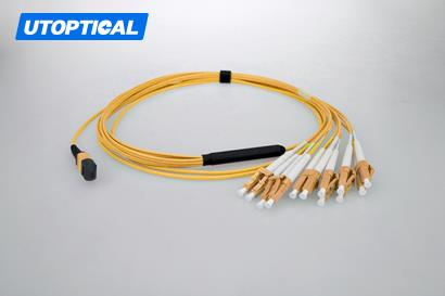 5m (16ft) MTP Female to 4 LC UPC Duplex 8 Fibers OS2 9/125 Single Mode Breakout Cable, Type B, Elite, Plenum (OFNP), Yellow