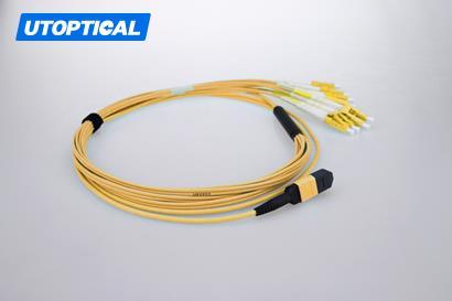 1m (3ft) MTP Female to 4 LC UPC Duplex 8 Fibers OS2 9/125 Single Mode Breakout Cable, Type B, Elite, Plenum (OFNP), Yellow