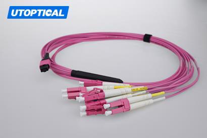 5m (16ft) MTP Female to 4 LC UPC Duplex 8 Fibers OM4 50/125 Multimode Breakout Cable, Type B, Elite, Plenum (OFNP), Magenta