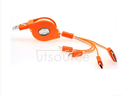 Scalable four long multi-function combination cable yituo four charger line phone line 4 in 1 orange color Product name: yituo charging four telescopic line Product use: only charge cannot transfer data Product length: stretching after about 1 meter Product interface: 1. From 8 pin interface: used for apple plus 5/5 s / 5 c / 6/6, the mini 2.30 Pin interface: used for apple 4/4 s, the device / 3. 3. The Micro usb interface: used for android smartphones 4. Note3 interface Warm prompt: this paragraph only support charge, does not support data transfer! If you need more mobile phone charging at the same time, please choose the foot 2 a and over charging power supply