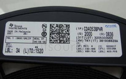 CD4053BPWR IC MUX/DEMUX TRIPLE 2X1 16TSSOP