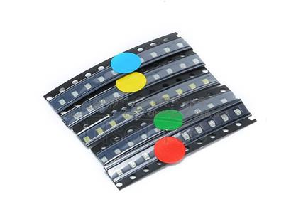 0603 patch LED common components (red, blue, green, yellow and white) 5 kinds of 10 each.