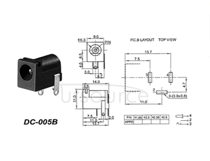 Direct source plug socket 5.5 * 2.1 005 b environmental protection power supply, DC power supply female 5.5 mm x2.5  10 PCS  environmental temperature range of use: copper - 30 ~ 70 ℃ the rated load: 30 v DC contact resistance: 1.0 A 0.03 or less Ω insulation resistance: 100 m or higher Ω pressure resistance: AC 500 v (50 hz)/min