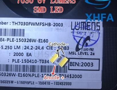 Lumens SMD LED 7030 6V 1W Cool White For TV BackLight 200mA