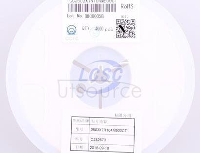 CCTC TCC0603X7R104M500CT
