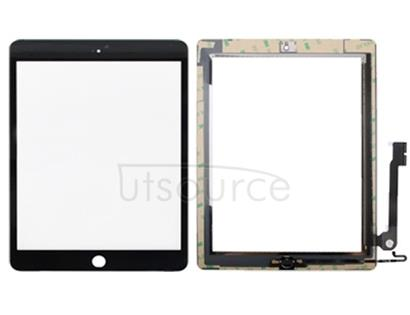 Controller Button + Home Key Button PCB Membrane Flex Cable + Touch Panel Installation Adhesive  Touch Panel for iPad 4(Black)