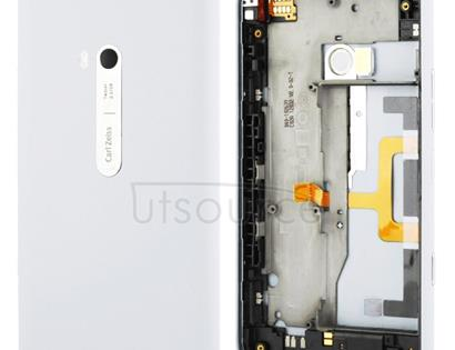 Housing Battery Back Cover With Side Button Flex Cable for Nokia Lumia 900(White)