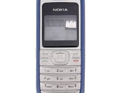 Full Housing Cover (Front Cover + Middle Frame Bazel + Battery Back Cover) for Nokia 1200 / 1208 / 1209(Blue)