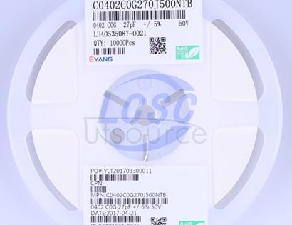 Shenzhen Eyang Tech Development C0402C0G270J500NTB(100pcs)