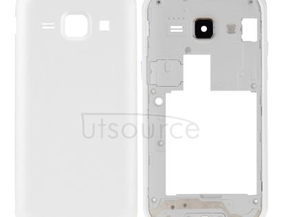 Full Housing Cover (Middle Frame Bazel + Battery Back Cover) + Home Button  for Galaxy J1 / J100(White)