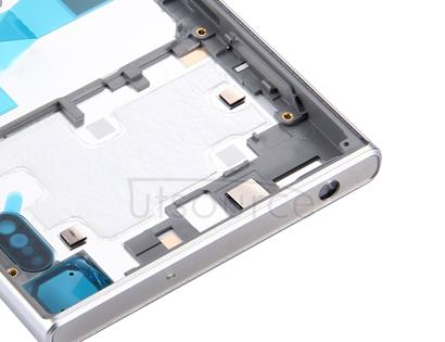 Back Battery Cover + Back Battery Bottom Cover + Middle Frame for Sony Xperia XZ (Silver)