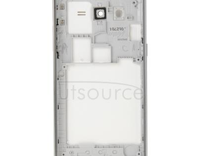 Full Housing Cover (Middle Frame Bazel + Battery Back Cover) + Home Button for Galaxy Grand Prime / G530 (Dual SIM Card Version) (White)