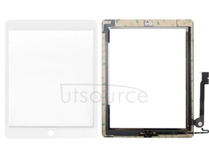 Controller Button + Home Key Button PCB Membrane Flex Cable + Touch Panel Installation Adhesive  Touch Panel for iPad 4(White)