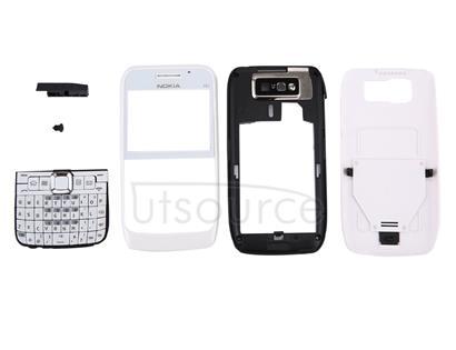 Full Housing Cover (Front Cover + Middle Frame Bezel + Battery Back Cover + Keyboard) for Nokia E63(White)