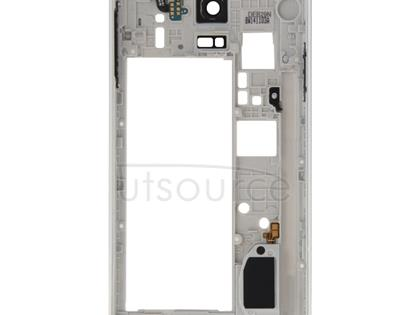 Middle Frame Bazel Back Plate Housing Camera Lens Panel with Speaker Ringer Buzzer and Earphone Hole for Galaxy Note 4 / N910V(White)