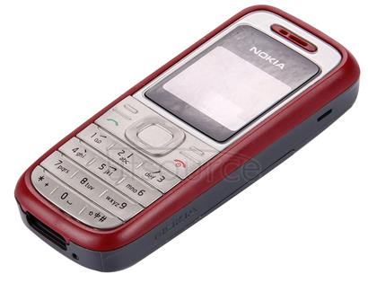 Full Housing Cover (Front Cover + Middle Frame Bazel + Battery Back Cover) for Nokia 1200 / 1208 / 1209(Red)