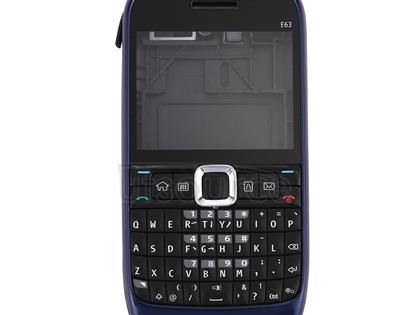 Full Housing Cover (Front Cover + Middle Frame Bezel + Battery Back Cover + Keyboard) for Nokia E63(Dark Blue)