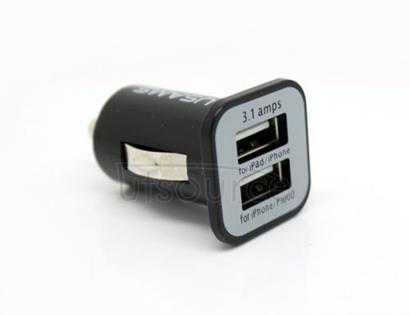 USAMS Dual USB Ports Car Charger 3.1A Output Black