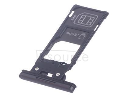 OEM Dual SIM Card Tray + SIM Cover Flap for Sony Xperia XZ2 Premium Chrome Black
