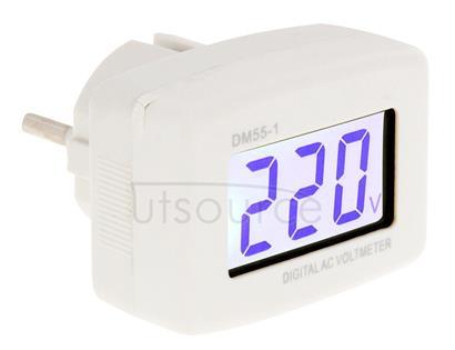 DM55-1 LCD AC Digital Voltage Meter Voltmeter, Measure Range: 110V-300V, EU Plug