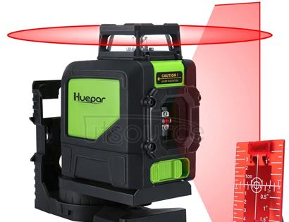 901CR H360 Degrees / V130 Degrees Laser Level Covering Walls and Floors 5 Line Red Beam IP54 Water / Dust proof(Red)