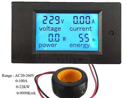 PZEM-061 4 in 1 DC Digital Display Meter Voltage Measuring Instrument, AC 80-260V, 100A(Black)