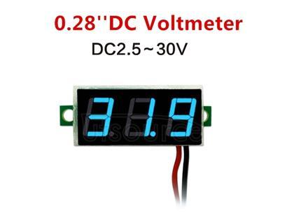 10 PCS 0.28 inch 2 Wires Adjustable Digital Voltage Meter, Color Light Display, Measure Voltage: DC 2.5-30V (Blue)