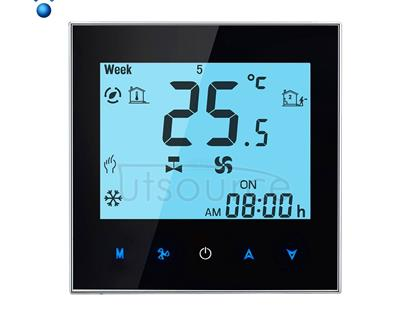 LCD Display Air Conditioning 2-Pipe Programmable Room Thermostat for Fan Coil Unit, Supports Wifi(Black)