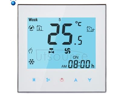 LCD Display Air Conditioning 2-Pipe Programmable Room Thermostat for Fan Coil Unit, Supports Wifi(White)