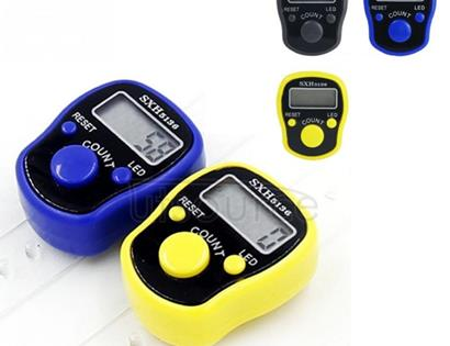 Electronic Digital Counter Portable Hand Operated Tally LCD Screen Finger Counter, Random Color