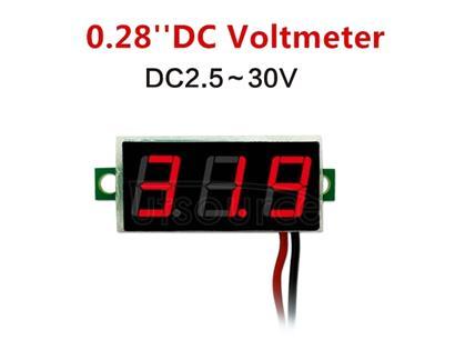 10 PCS 0.28 inch 2 Wires Adjustable Digital Voltage Meter, Color Light Display, Measure Voltage: DC 2.5-30V (Red)