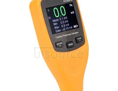 RZ260FN Ferrous & Non-Ferrous 2 in 1 LCD Display Ultrasonic Coating Paint Thickness Gauge Meter Tools (Orange)