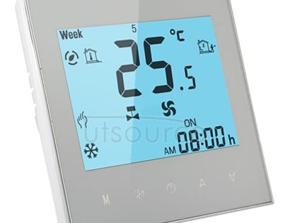 LCD Display Air Conditioning 2-Pipe Programmable Room Thermostat for Fan Coil Unit(White)