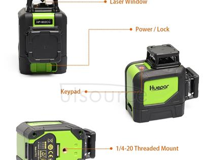 902CG 2×360 Degrees Laser Level Covering Walls and Floors 8 Line Green Beam IP54 Water / Dust proof(Green)