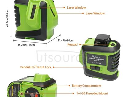 622CG H360 Degrees / V140 Degrees Laser Level Covering Walls and Floors 6 Line 1 Dot Green Beam IP54 Water / Dust proof(Green)
