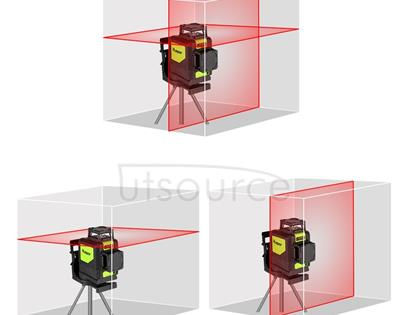 902CR 2×360 Degrees Laser Level Covering Walls and Floors 8 Line Red Beam IP54 Water / Dust proof(Red)