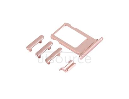 Card Tray + Volume Control Key + Power Button + Mute Switch Vibrator Key for iPhone 7(Rose Gold)