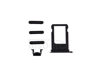 Card Tray + Volume Control Key + Power Button + Mute Switch Vibrator Key for iPhone 7(Black)