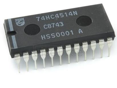 74HC4514N 4-to-16 line decoder/demultiplexer with input latches - Description: 4-of-16 Decoder/Demultiplexer with Input Latches<br/> Outputs LOW at Data Input HIGH <br/> Logic switching levels: CMOS <br/> Number of pins: 24 <br/> Output drive capability: +/- 5.2 mA <br/> Power dissipation considerations: Low Power or Battery Applications <br/> Propagation delay: 23@5V ns<br/> Voltage: 2.0-6.0 V