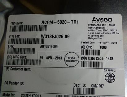 ACPM-5020-TR1 : Broadcom Limited  :   : Broadcom / Avago   : RF Amplifier   : Wireless & RF Integrated Circuits