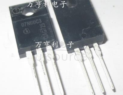 SPA07N60C3 N-Channel MOSFETs >500V&#133<br/>900V<br/> Package: PG-TO220-3<br/> VDS max: 600.0 V<br/> Package: TO-220 FullPAK<br/> RDSON @ TJ=25&#176<br/>C VGS=10: 600.0 mOhm<br/> IDmax @ TC=25&#176<br/>C: 7.3 A<br/> IDpuls max: 21.9 A<br/>