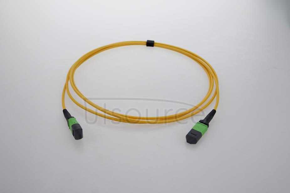 2m (7ft) MTP Female to MTP Female 12 Fibers OS2 9/125 Single Mode HD Trunk Cable, Type B, LSZH, Yellow