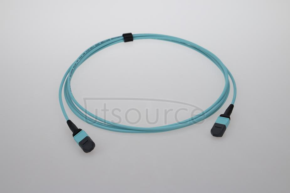 3m (10ft) MPO Female to MPO Female 12 Fibers OM3 50/125 Multimode Trunk Cable, Type B, Elite, LSZH, Aqua