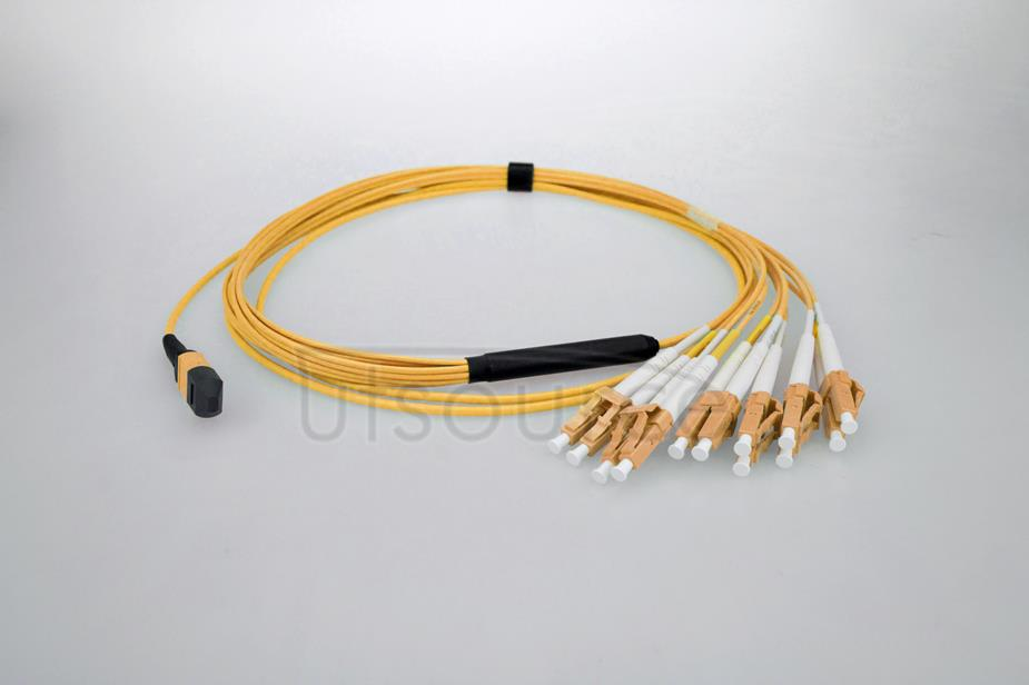 3m (10ft) MTP Female to 4 LC UPC Duplex 8 Fibers OS2 9/125 Single Mode Breakout Cable, Type B, Elite, Plenum (OFNP), Yellow