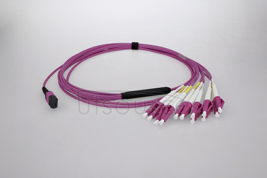 3m (10ft) MTP Female to 4 LC UPC Duplex 8 Fibers OM4 50/125 Multimode Breakout Cable, Type B, Elite, Plenum (OFNP), Magenta