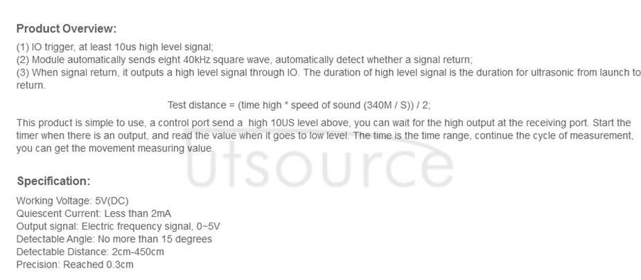 HC-SR04 Ultrasonic Distance Measuring Sensor Module