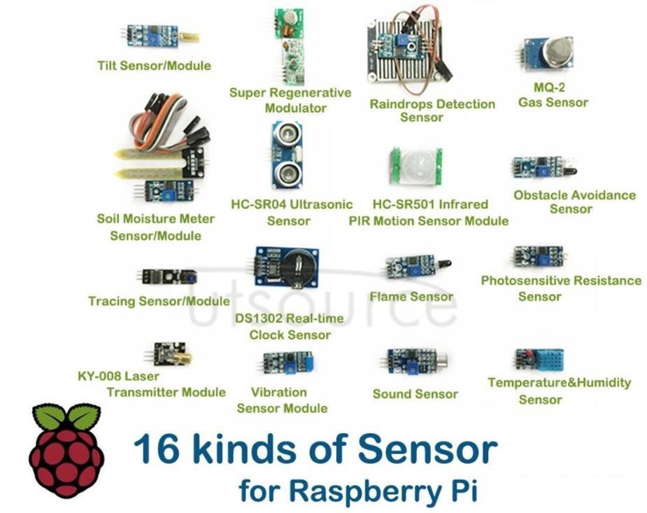 16 kinds of Sensor (Module) for Raspberry Pi 2B/3B
